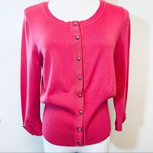 White House Black Market Pink Button-Up Sweater L
